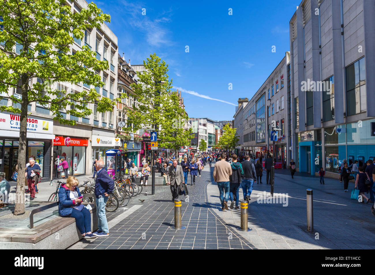 Shops on Lord Street in the city centre, Liverpool, Merseyside, England, UK - Stock Image