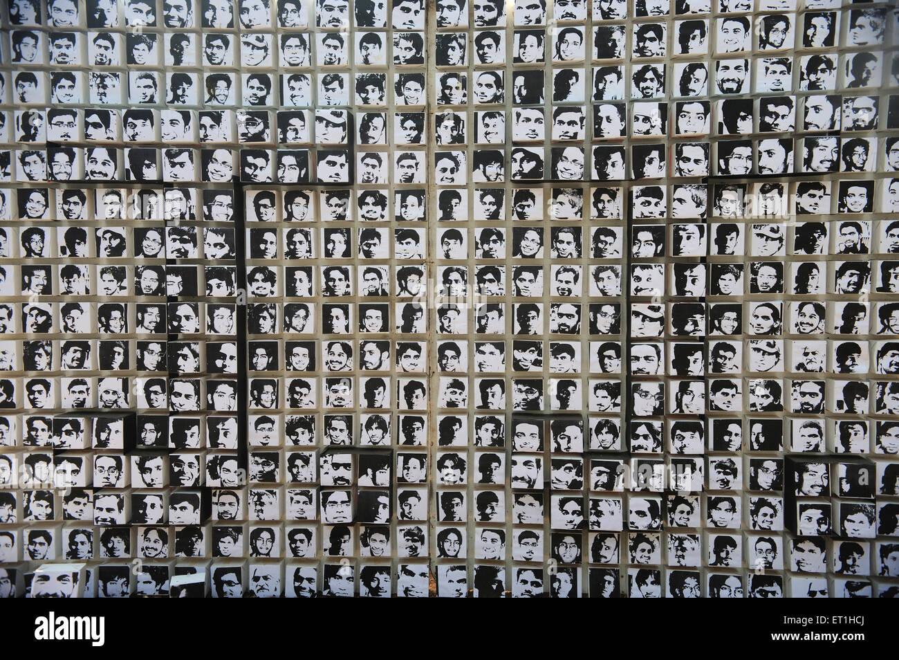 Photos install on paper in sir. jj. school of arts Bombay Mumbai ; Maharashtra ; India - Stock Image