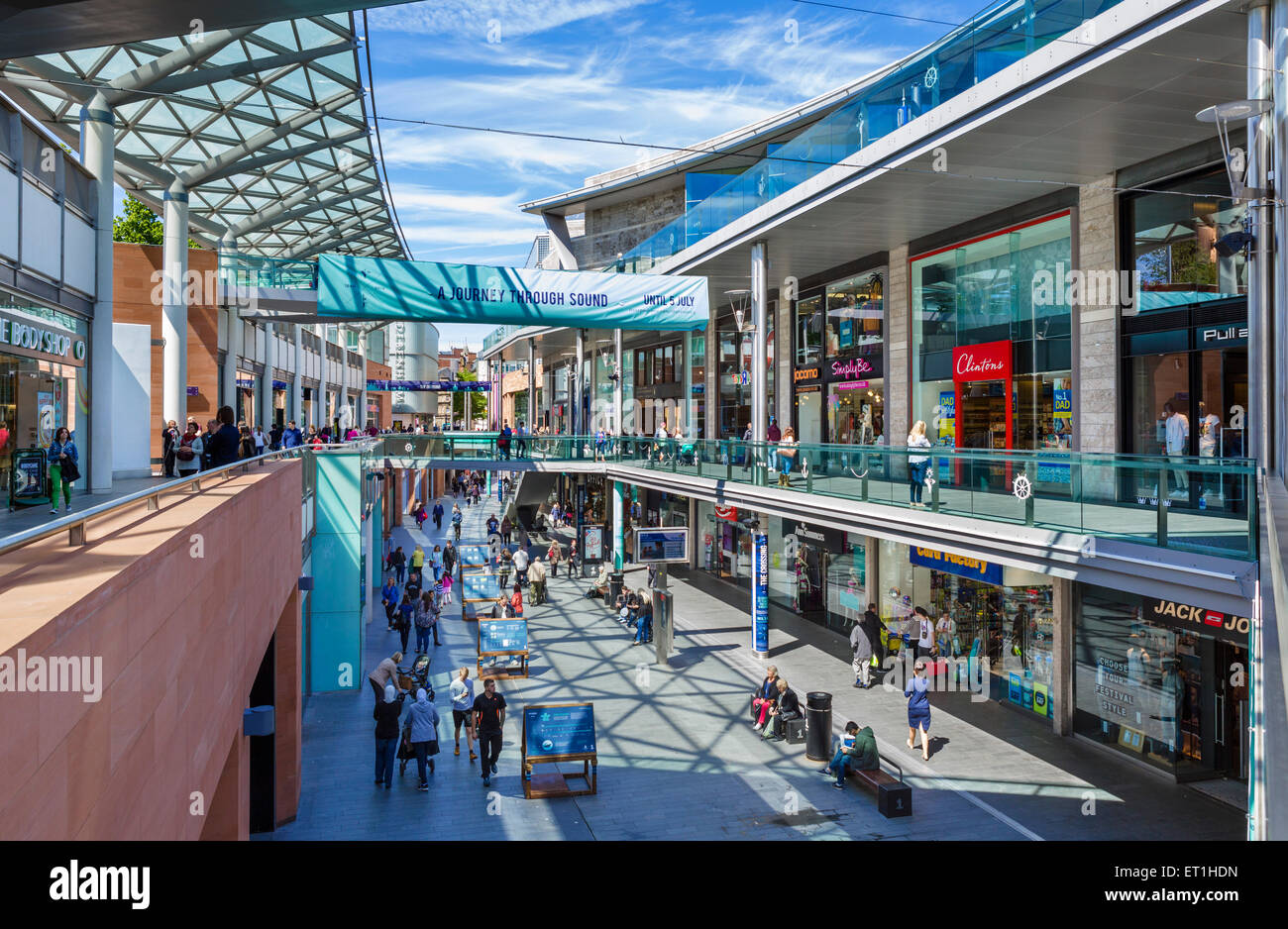 Stores in the Liverpool One shopping centre, Liverpool, Merseyside, England, UK - Stock Image