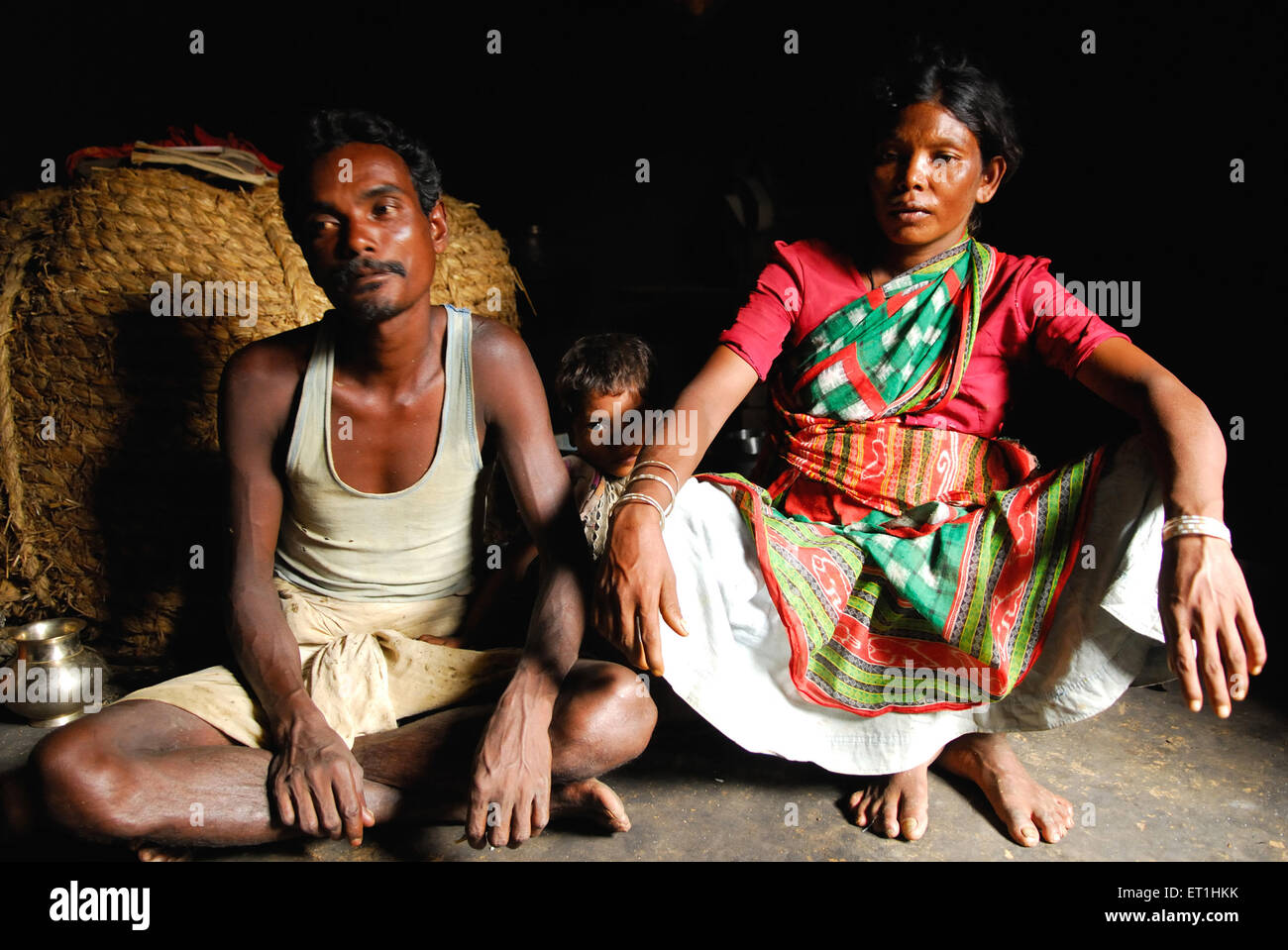 Ho tribes family struggling in poverty ; Chakradharpur ; Jharkhand ; India NO MR - Stock Image