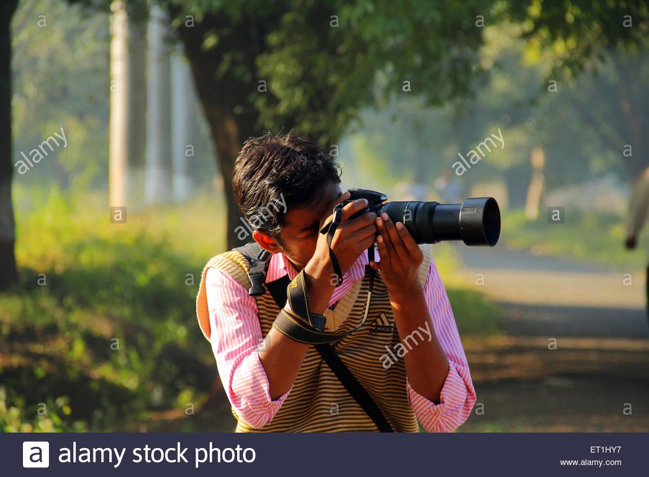 Photographer Himayat Bagh Aurangabad Maharashtra India Asia - Stock Image