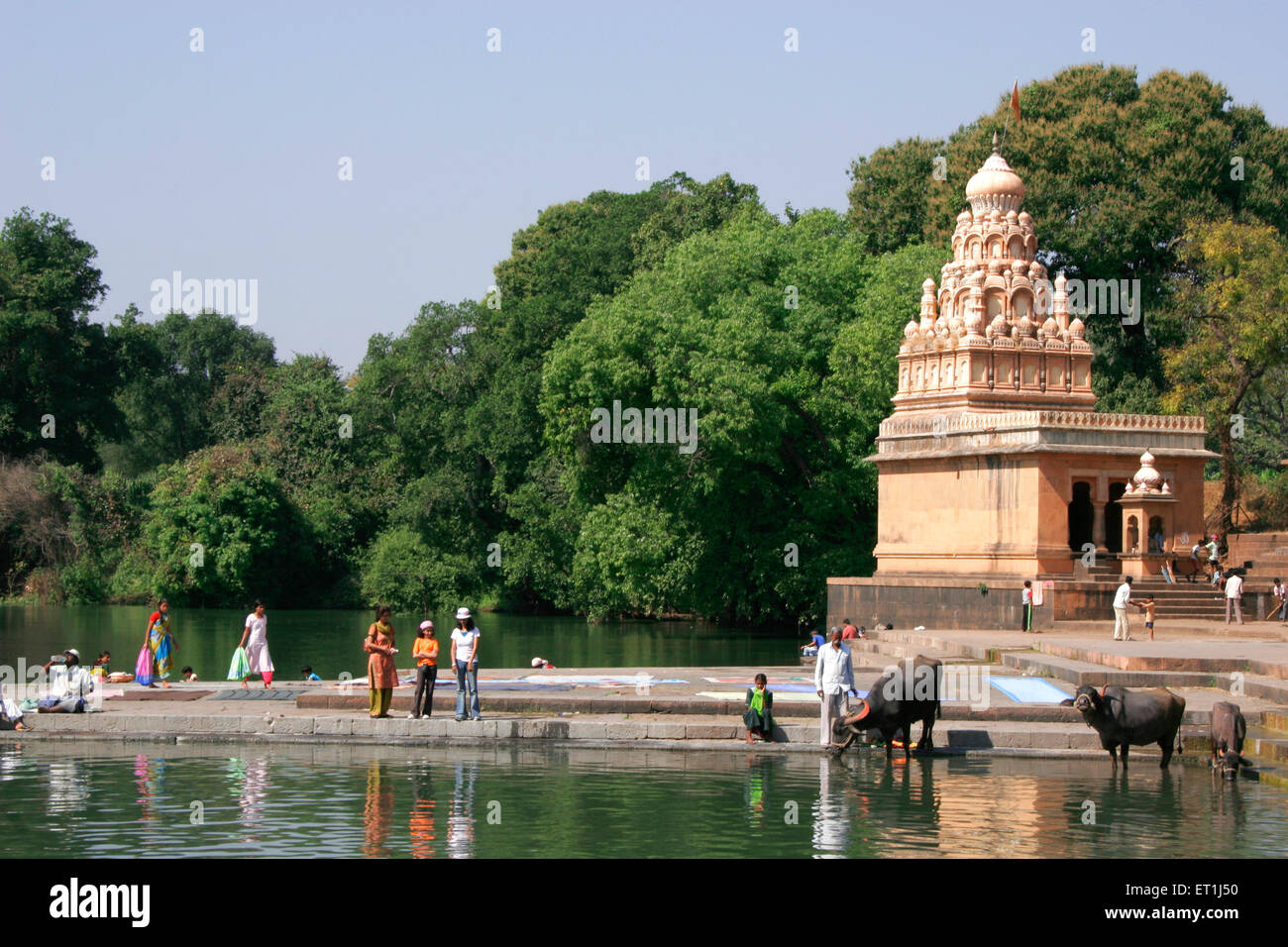 Temple dedicated to lord Shiva on banks of river Krishna ; Menauli ; Wai ; Maharashtra ; India - Stock Image