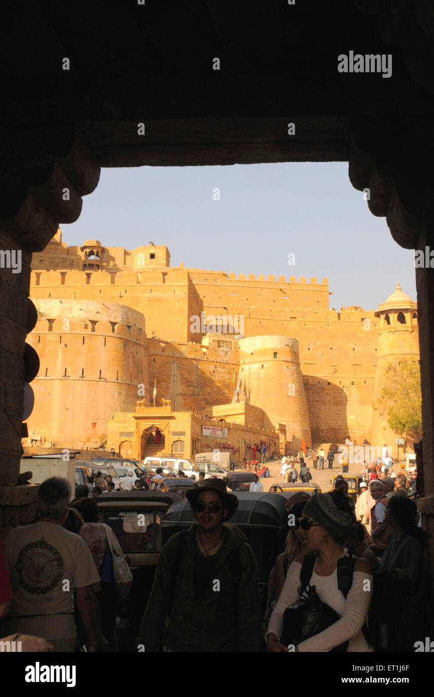 View of Jaislamer fort made of sandstone with imposing wall ; Jaisalmer ; Rajasthan ; India - Stock Image