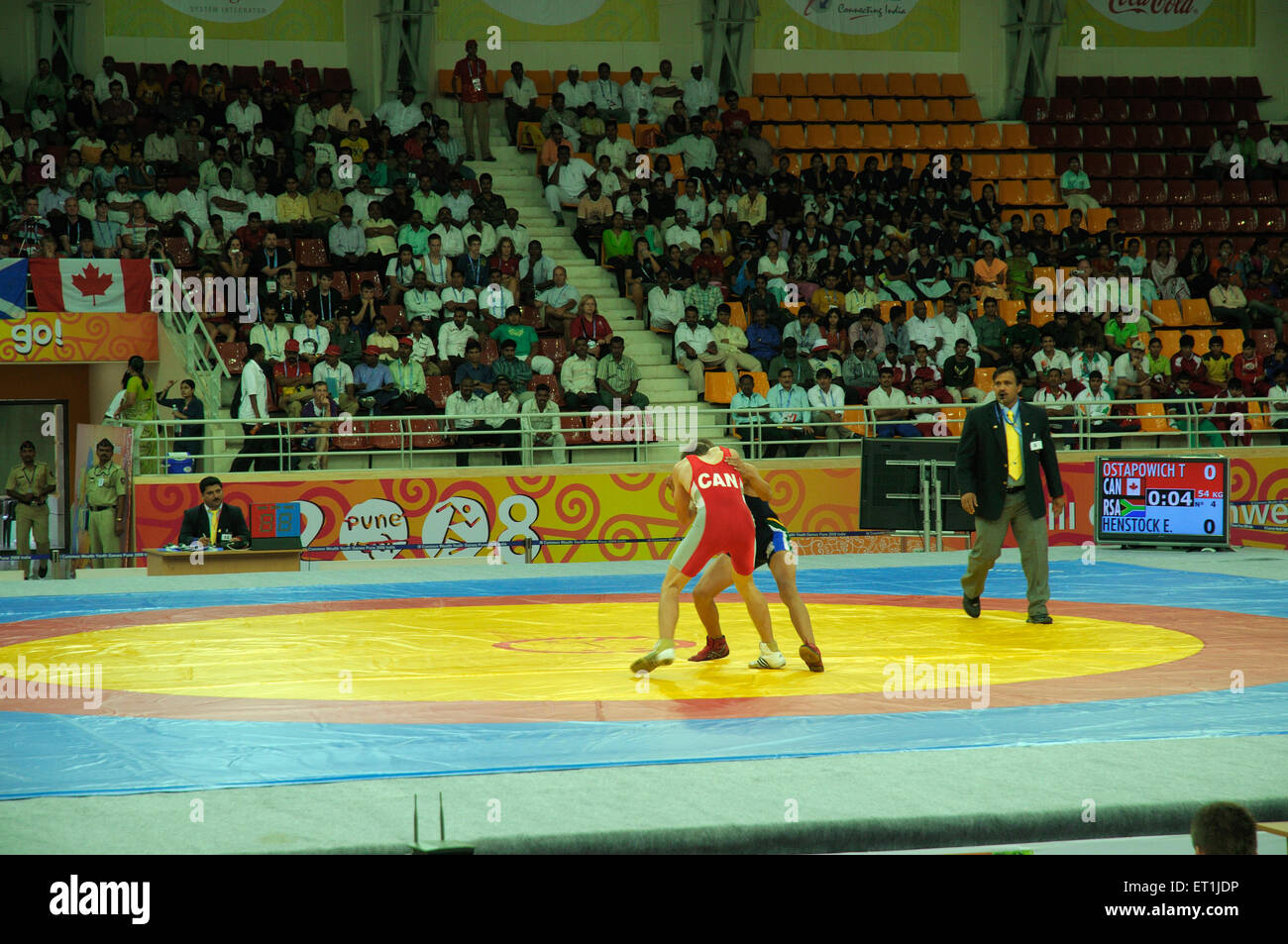 Wrestling match between canadian and south african youth ; Pune ; Maharashtra ; India 15 October 2008 NOMR - Stock Image