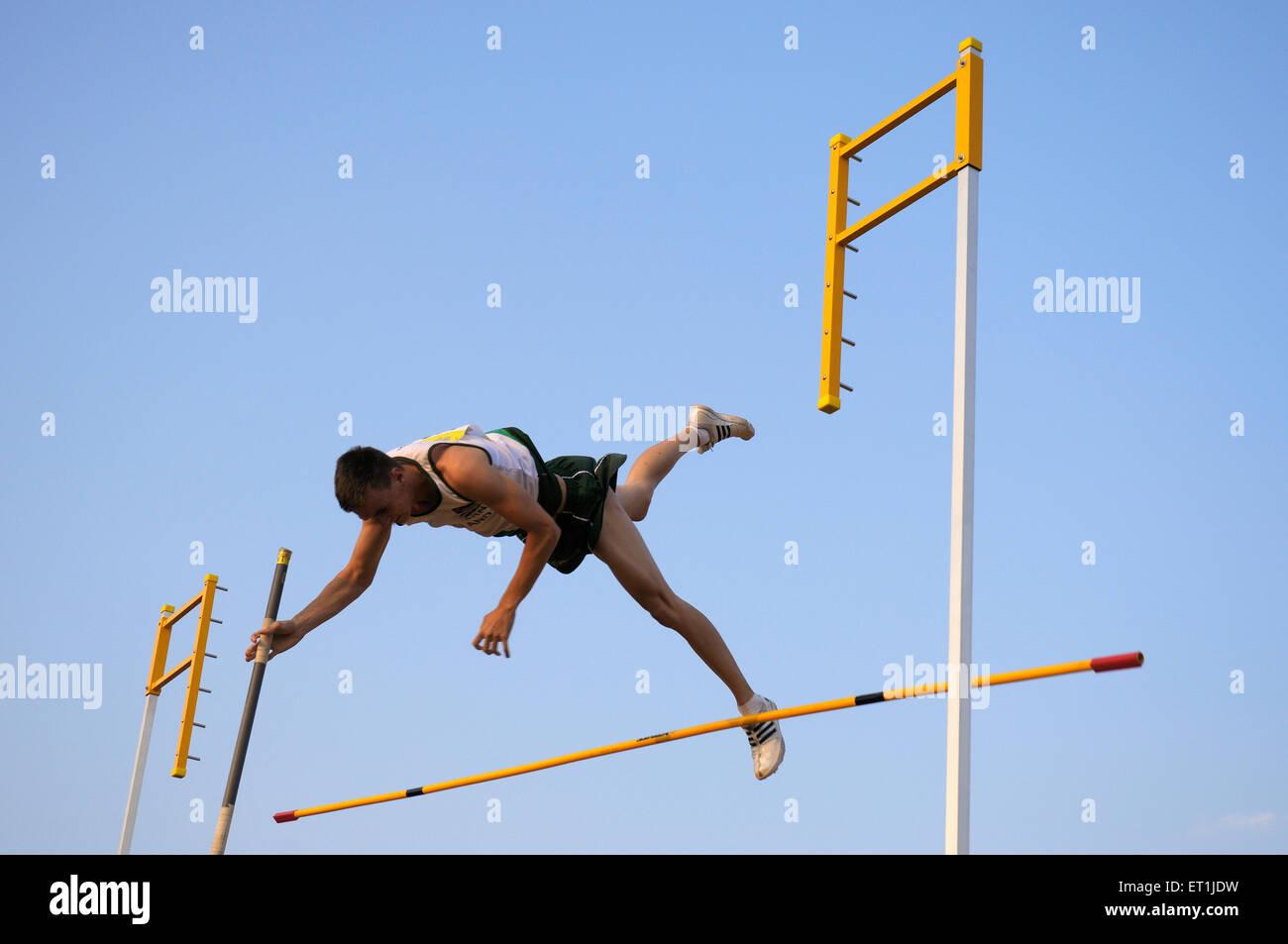 Athlete from netherland pole vault jump ; Pune ; Maharashtra ; India 15 October 2008 NOMR - Stock Image