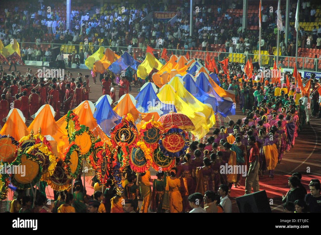 Grandeur of closing ceremony with parade of performers ; Pune ; Maharashtra ; India 18 October 2008 - Stock Image