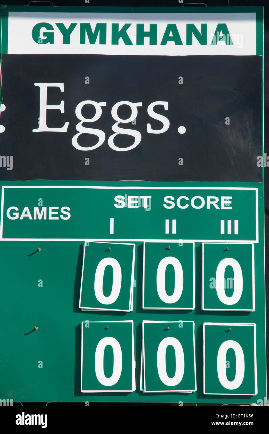 The official score board Pune Maharashtra India Asia Dec 2010 - Stock Image