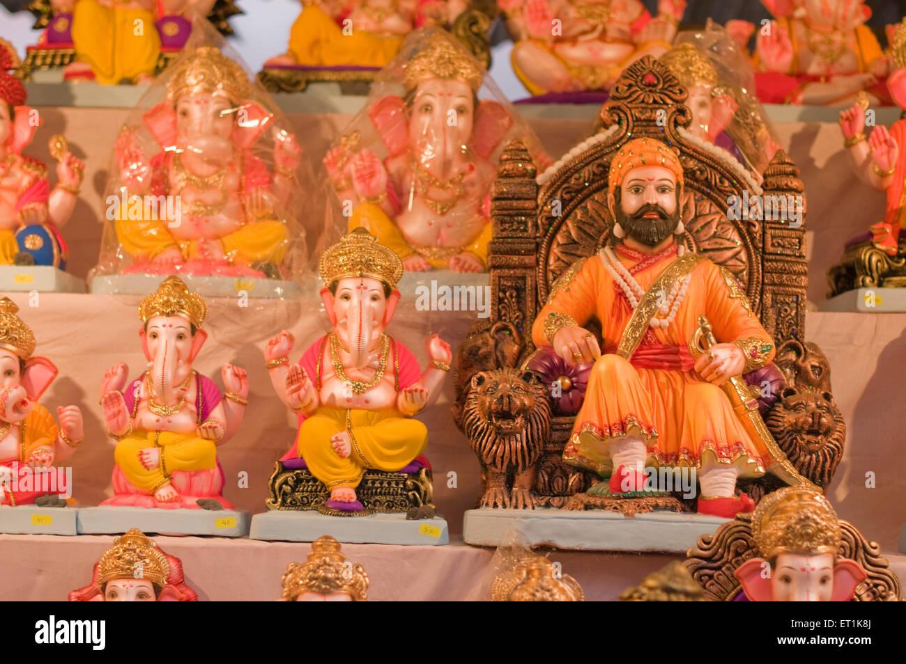 Several idols of Lord Ganesh with Maratha ruler Shivaji Pune Maharashtra India Asia Aug 2011 - Stock Image