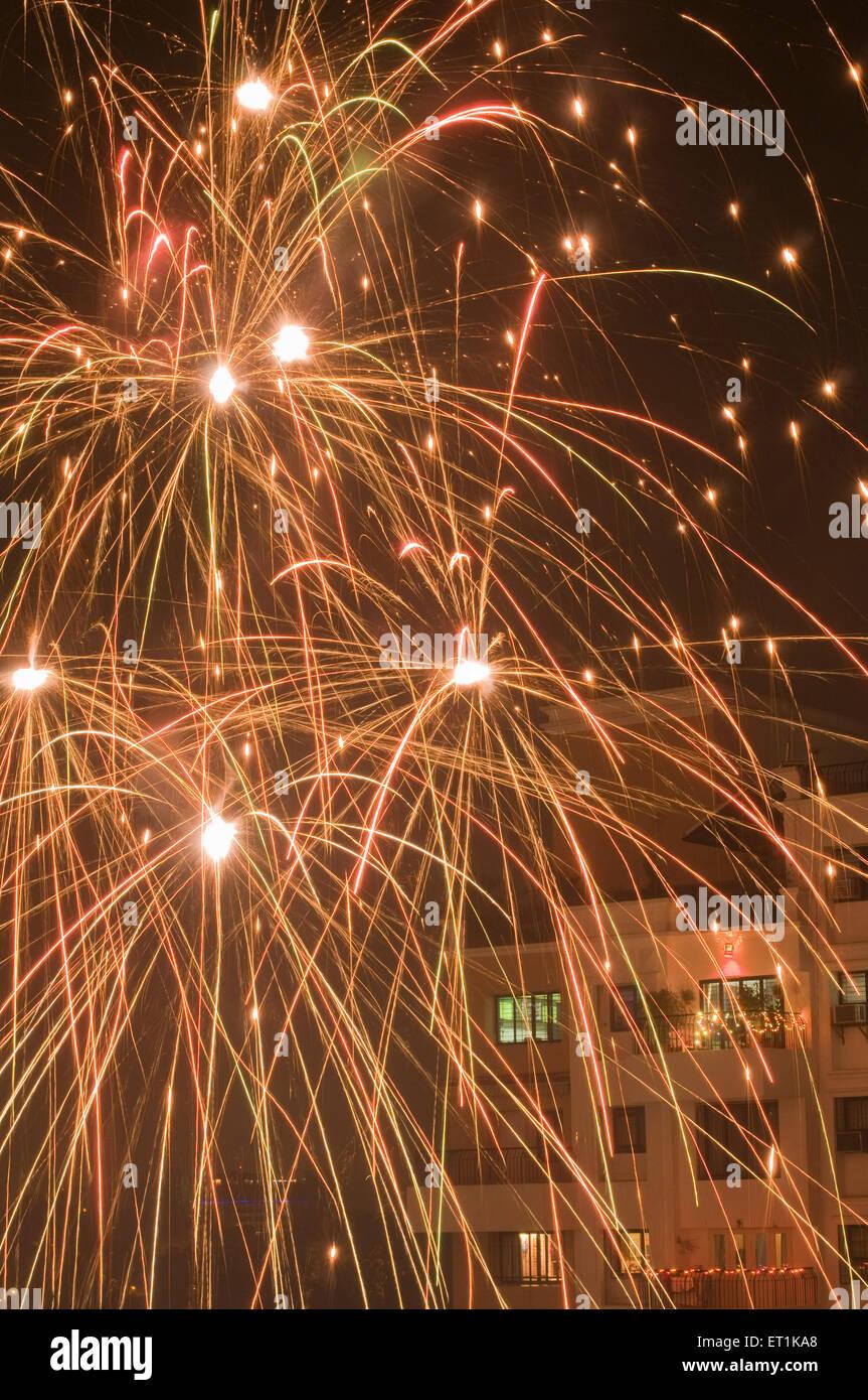 Fire Cracker Diwali festival Pune Maharashtra India Asia Oct 2011 - Stock Image