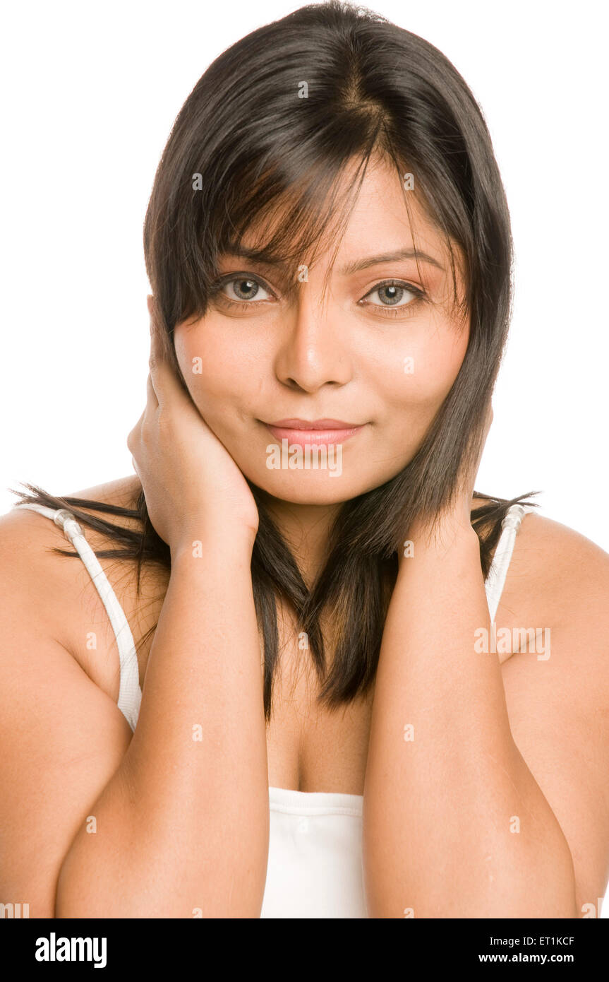 Girl Expression of Casual Stare Pune Maharashtra India Asia Feb 2011 MR#686 X - Stock Image
