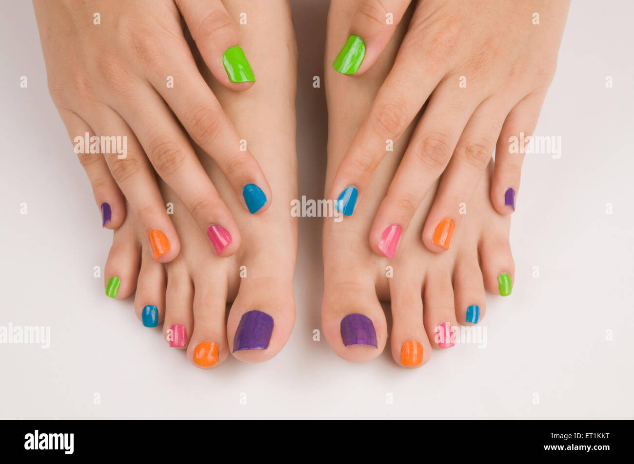 Different colours of nail polish on nails Pune Maharashtra India ...