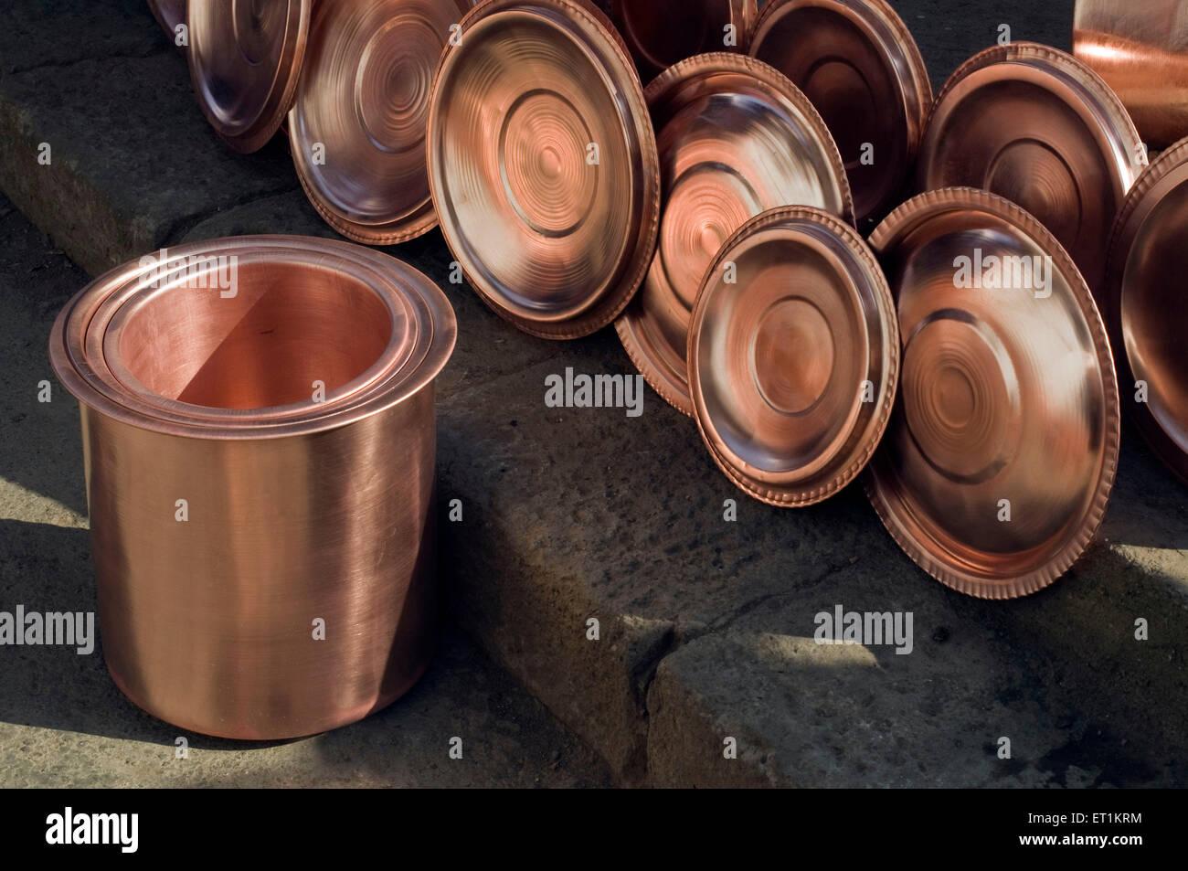 copper utensils Pune Maharashtra India Asia - Stock Image