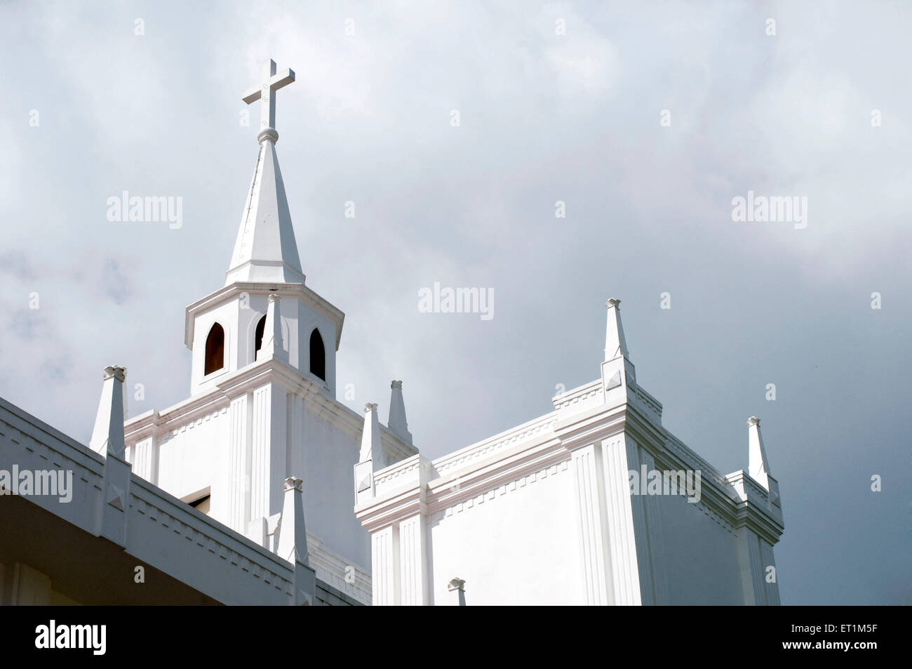 An imposing architecture of church CSI Immanuel with a cross Kochi Kerala India Asia - Stock Image