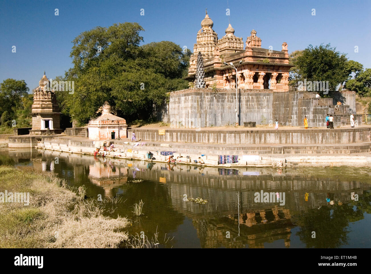Sangemeshvar ; lord shankar shiva temple on bank of river karha & chamblis confluence sasvad village Purandar - Stock Image