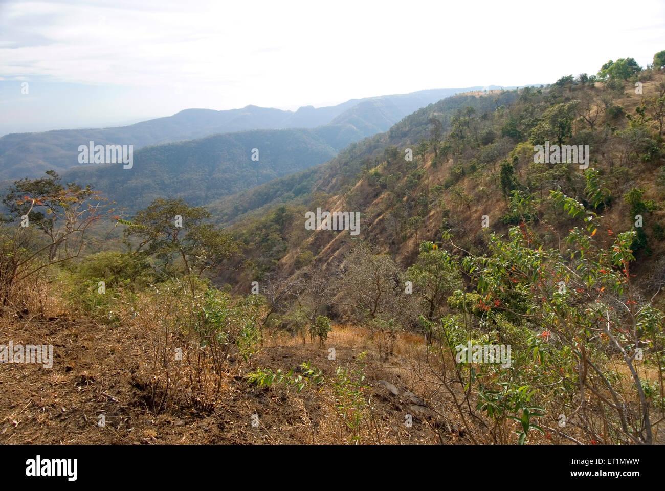 Valleys and mountains of Saputara ranges at Chikhaldara ; district Amravati ; Maharashtra ; India - Stock Image
