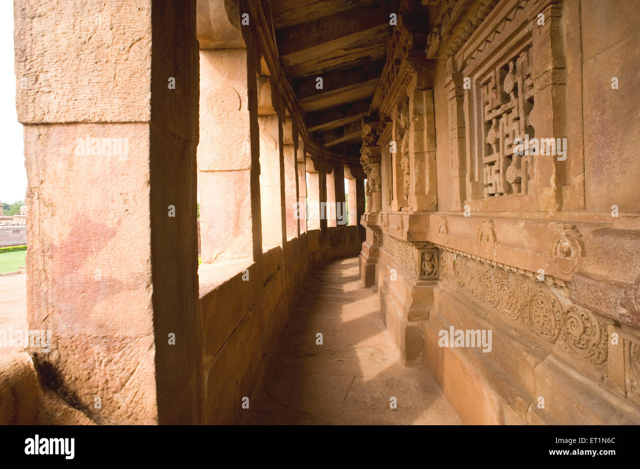 Corridor of durga temple ; Aihole ; Bagalkot ; Karnataka ; India - Stock Image