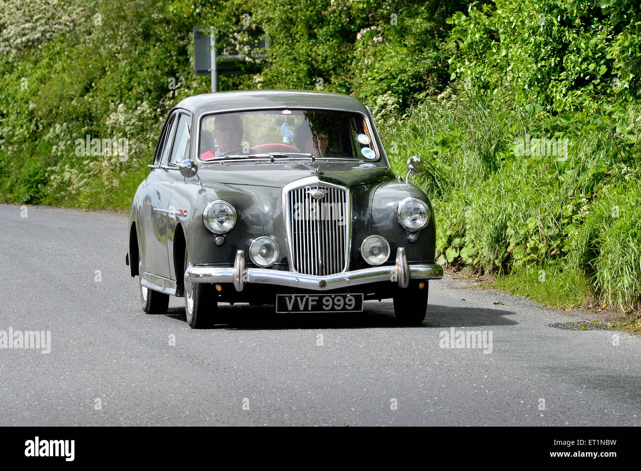 1950s Wolesley Classic saloon car on country road, Burnfoot, County Donegal, Ireland - Stock Image