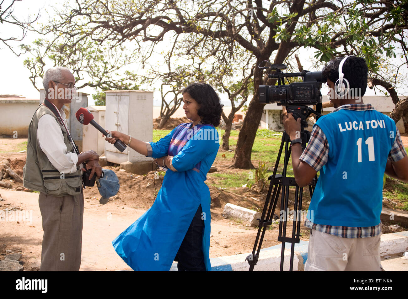 Senior photographers interview on channel NO MR - Stock Image