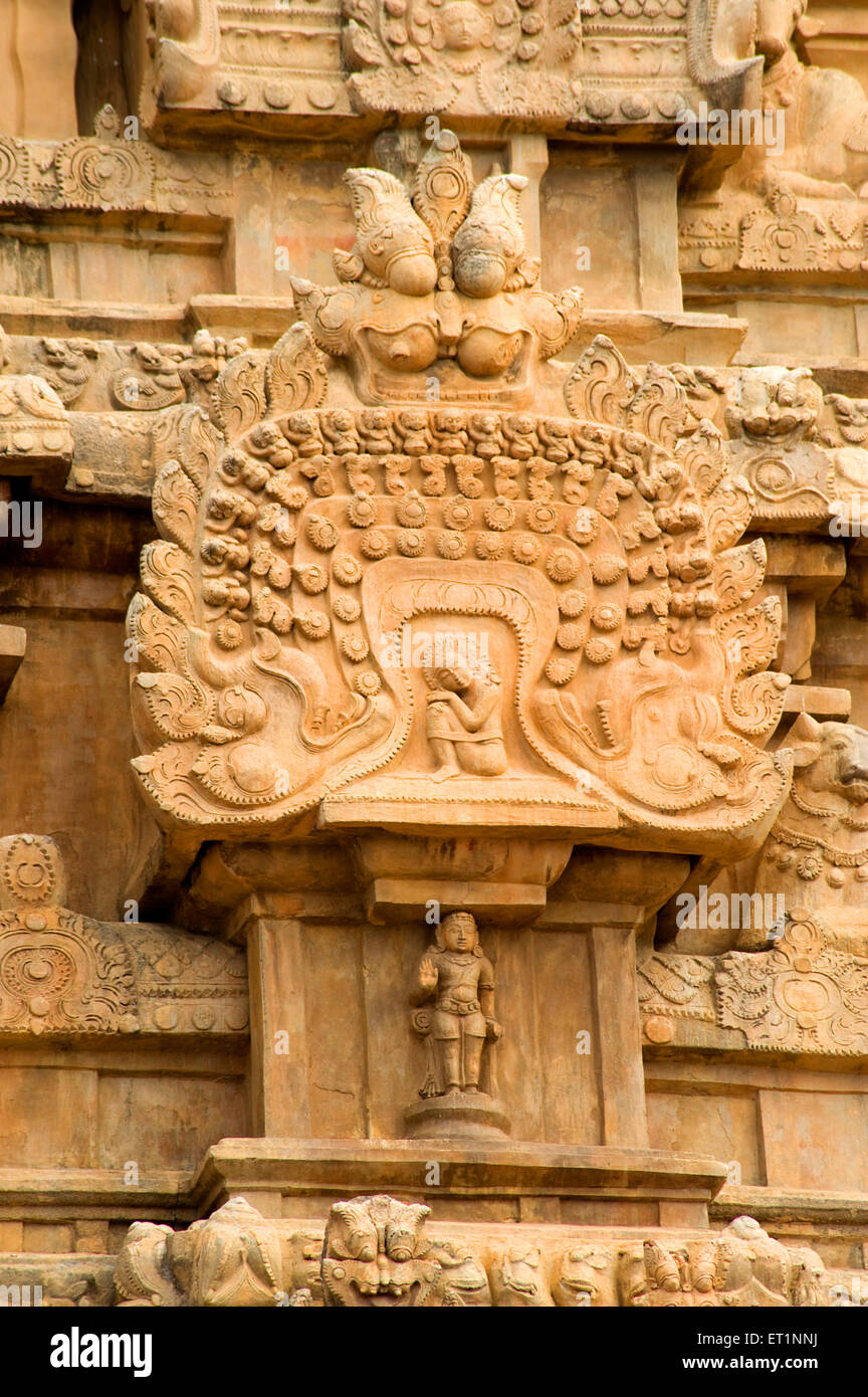 Stucco on wall of brihadeshwara temple  ; Thanjavur ; Tamil Nadu ; India - Stock Image