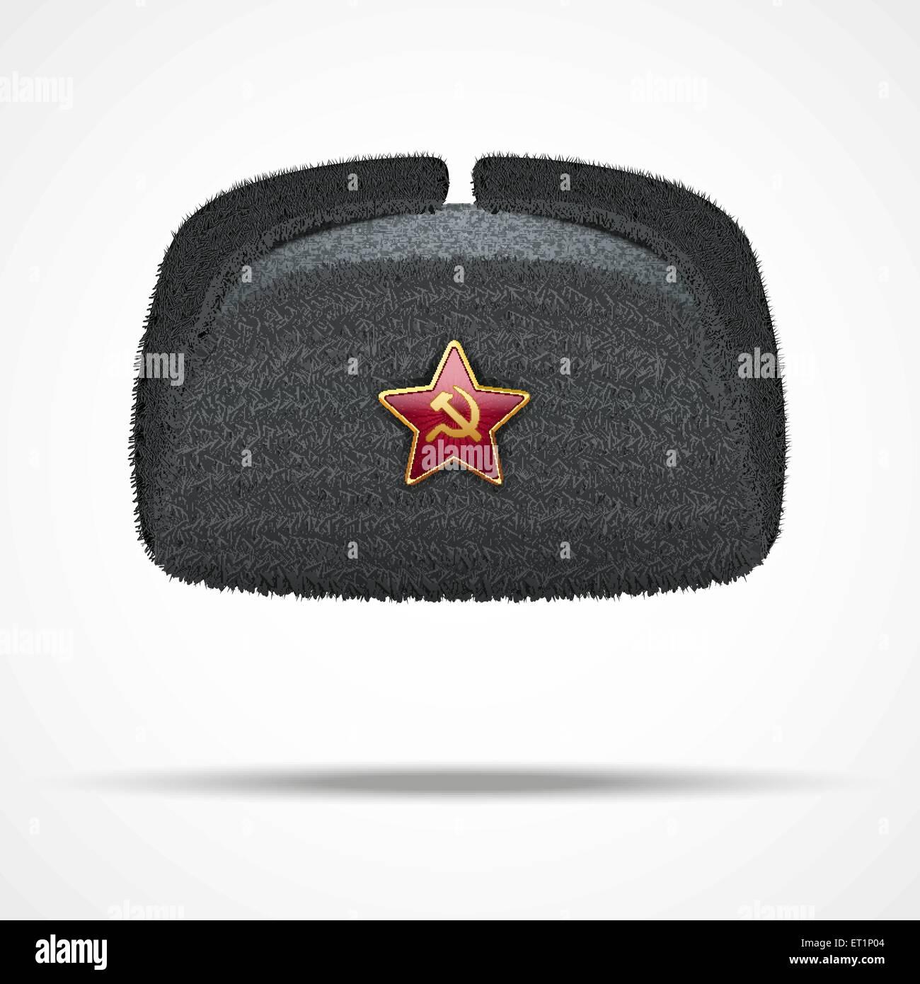 Russian black winter fur hat ushanka with red star. - Stock Image