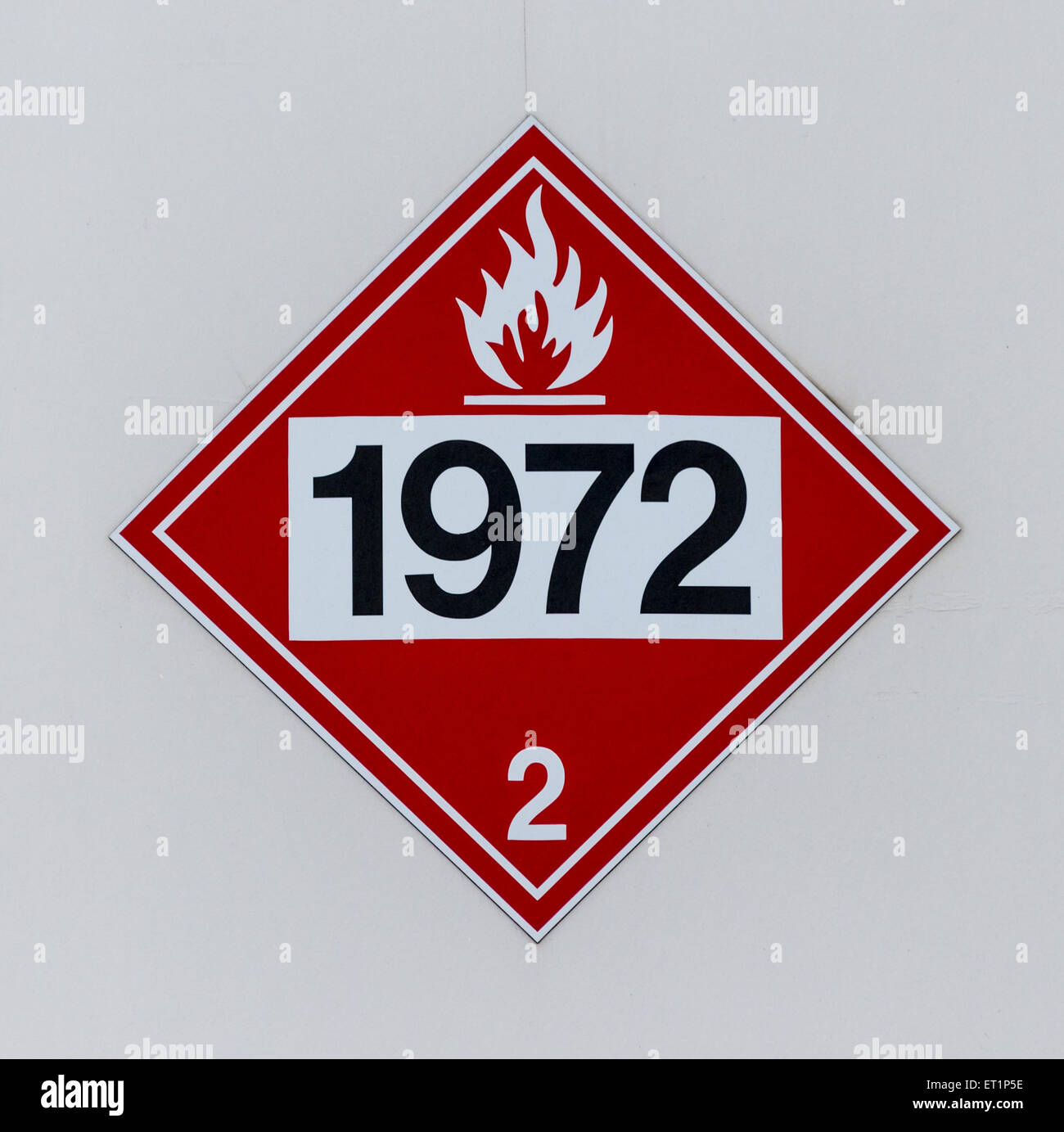 1972 Hazmat Placard on a Liquid Methane (Flammable Gas) Storage Container - Stock Image