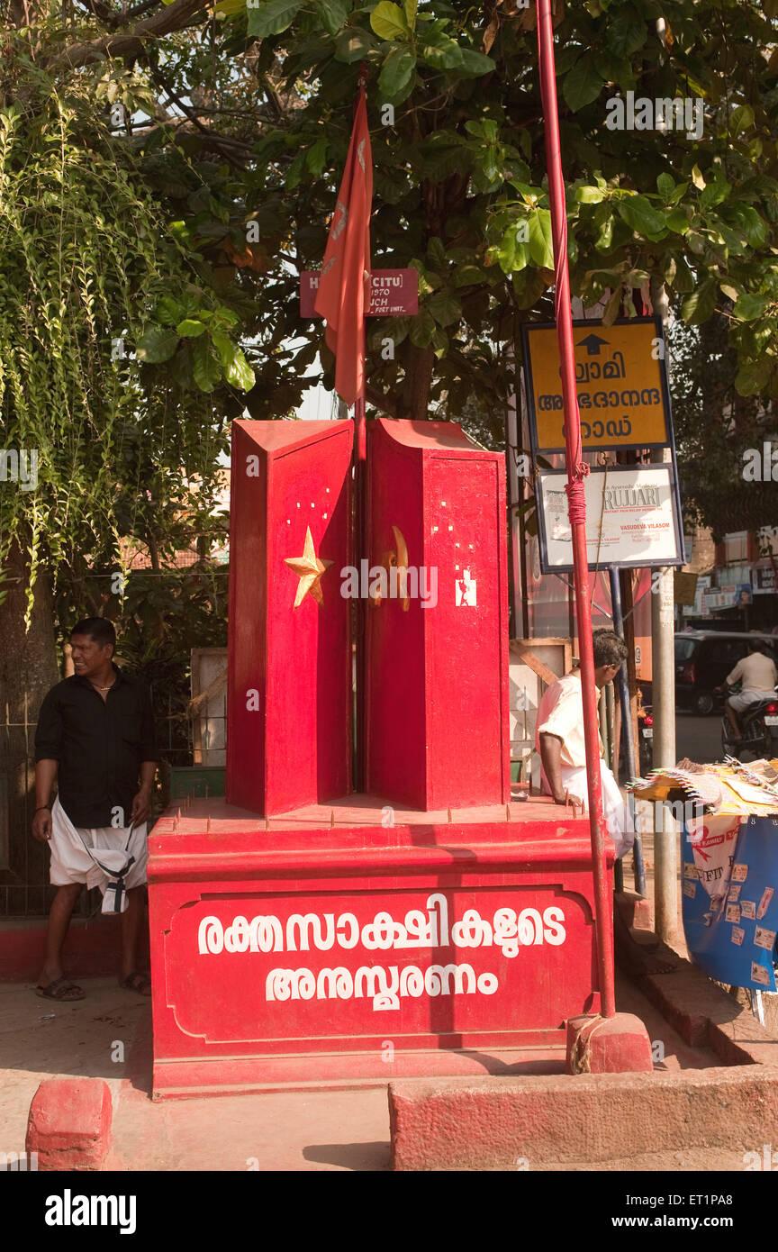 Communist  parties flag and structure ; Trivandrum Thiruvananthapuram ; Kerala ; India - Stock Image