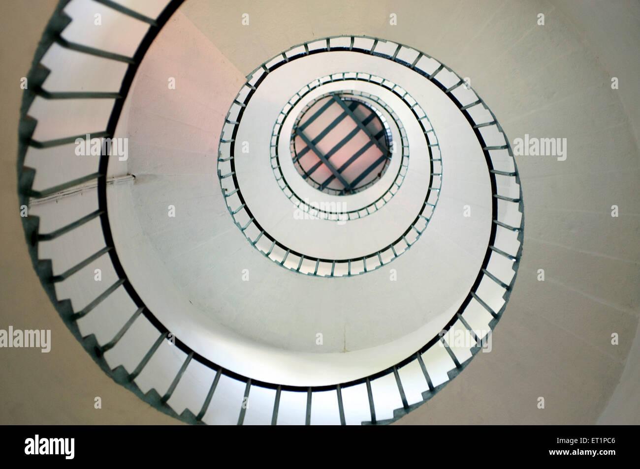 Round stair case in ; Kollam ; Kerala ; India - Stock Image