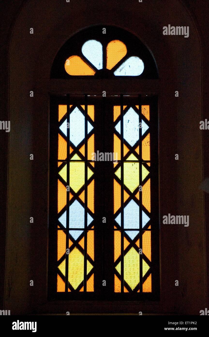 Stain glass window in santa cruz basilica at ; Cochin Kochi ; Kerala ; India - Stock Image