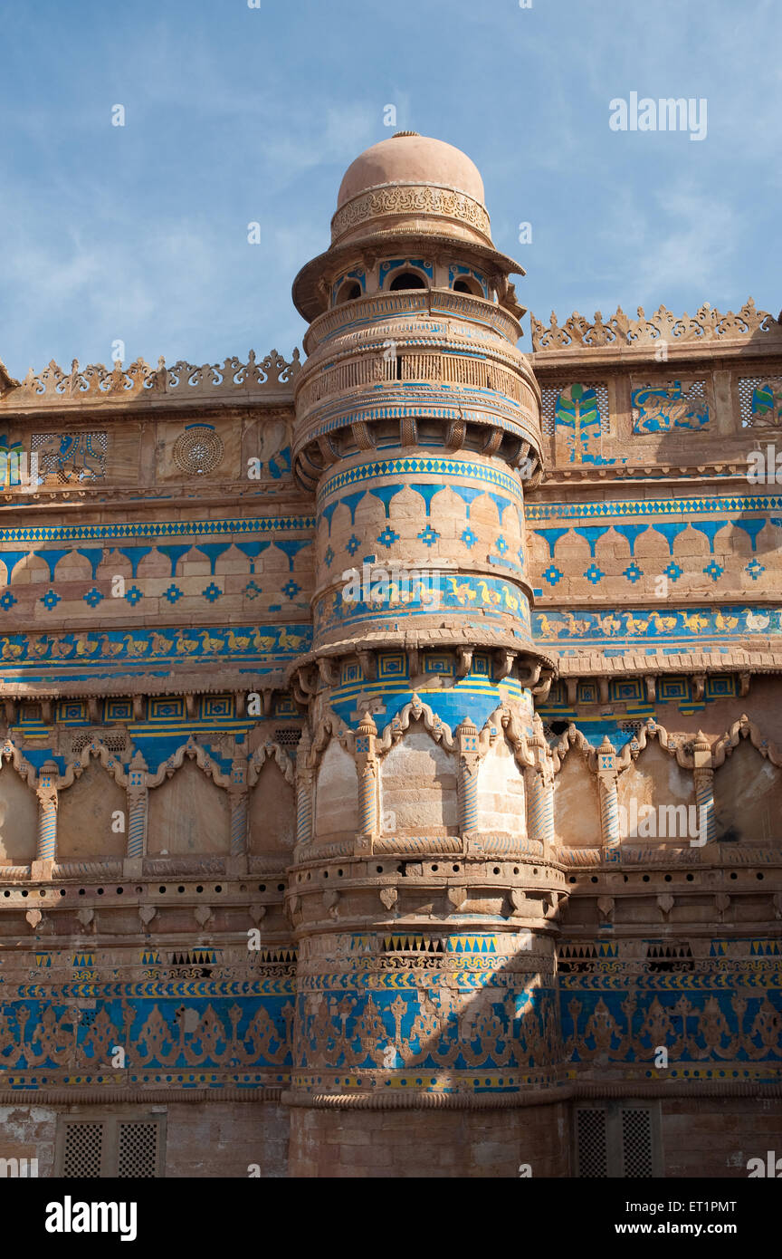 Rounded bastion topped with cupolas of gwalior fort ; Madhya Pradesh ; India - Stock Image