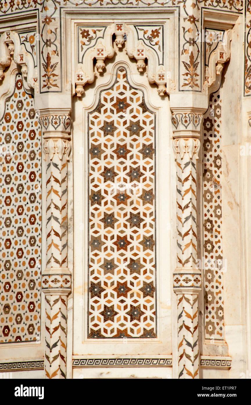 Geometric designs on wall of madhavrao scindia  cenotaph at Shivpuri ; Madhya Pradesh ; India - Stock Image