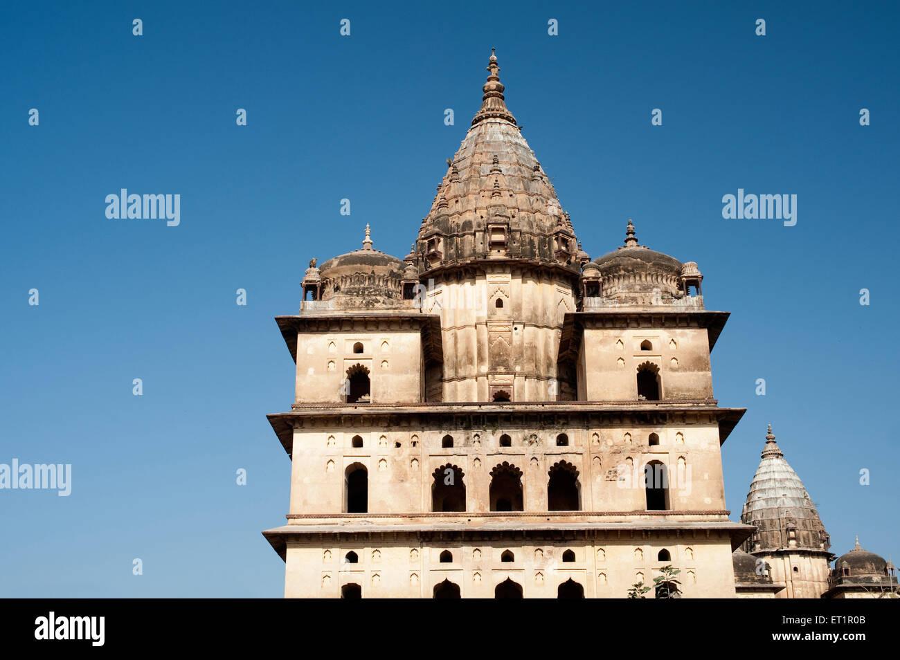 Cenotaphs of rulers ; Orchha ; Tikamgarh ; Madhya Pradesh ; India - Stock Image