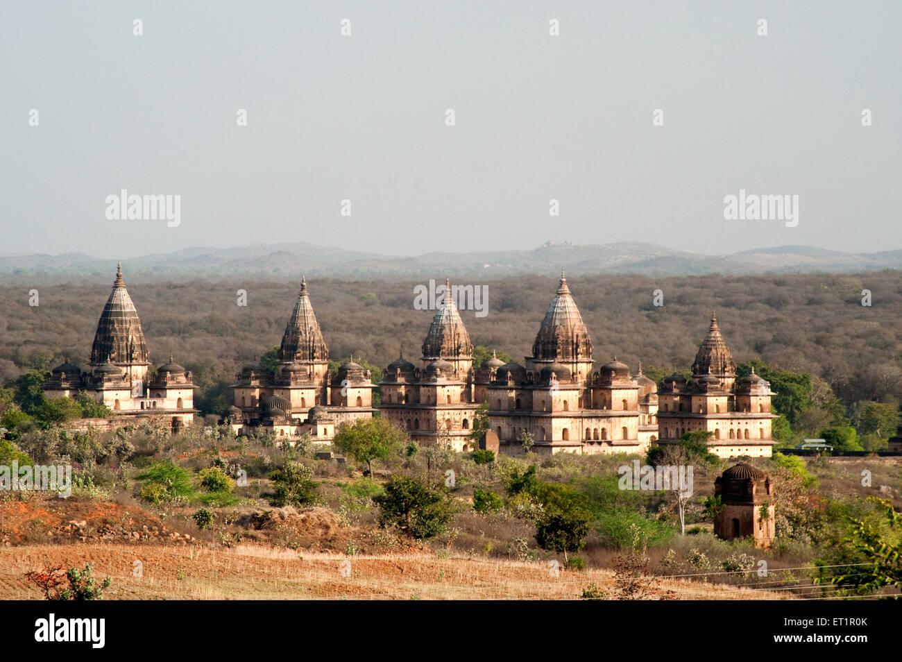 Cenotaphs rulers ; Orchha ; Tikamgarh ; Madhya Pradesh ; India - Stock Image