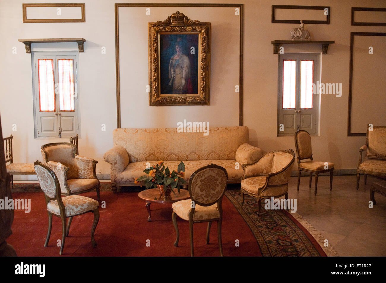 Drawing room in scindia museum in jaivilas palace ; Gwalior ; Madhya Pradesh ; India - Stock Image