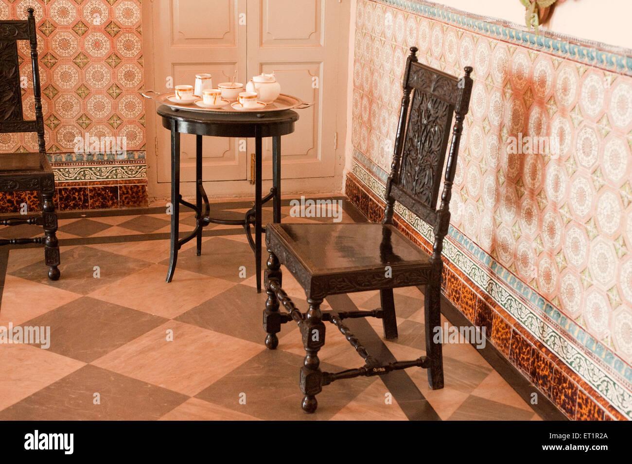 Dining room in scindia museum in jaivilas palace ; Gwalior ; Madhya Pradesh ; India - Stock Image