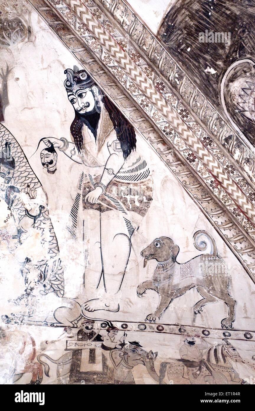 Wall paintings mural shiva with dog at Lakshminarayan temple ; Orchha ; Tikamgarh ; Madhya Pradesh ; India Stock Photo