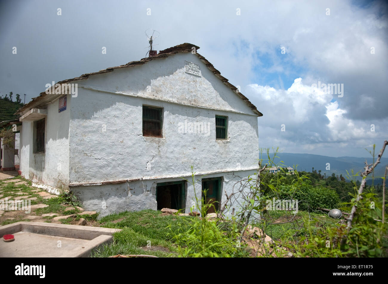 Conventional houses of himalayan villages of uttarakhand India Asia - Stock Image
