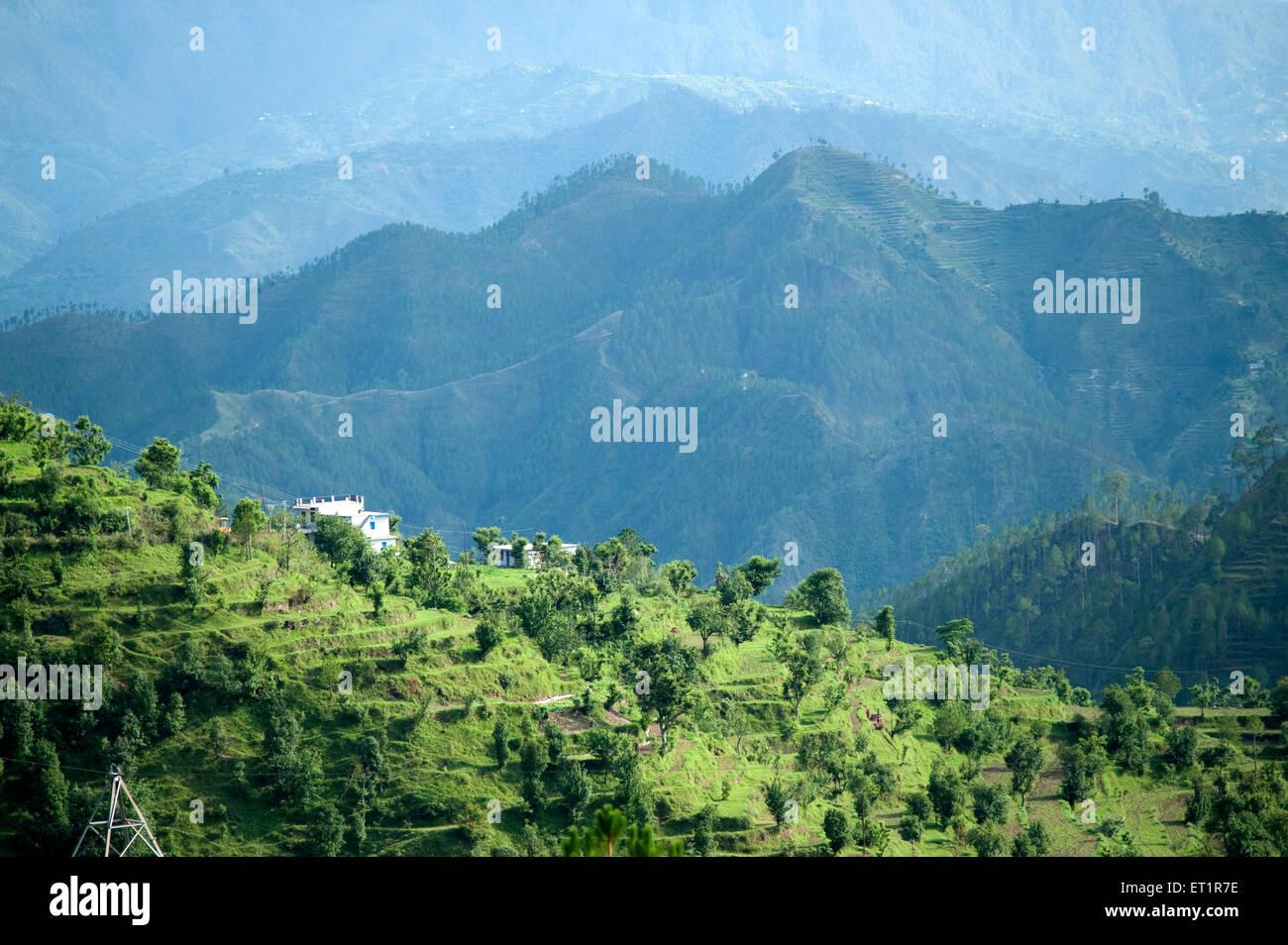 Landscape of valley of uttarakhand India Asia - Stock Image