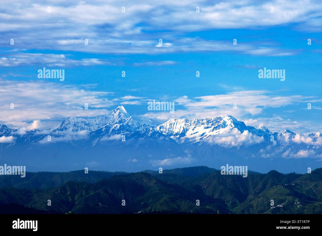 Snowy peaks of himalaya uttarakhand India Asia - Stock Image