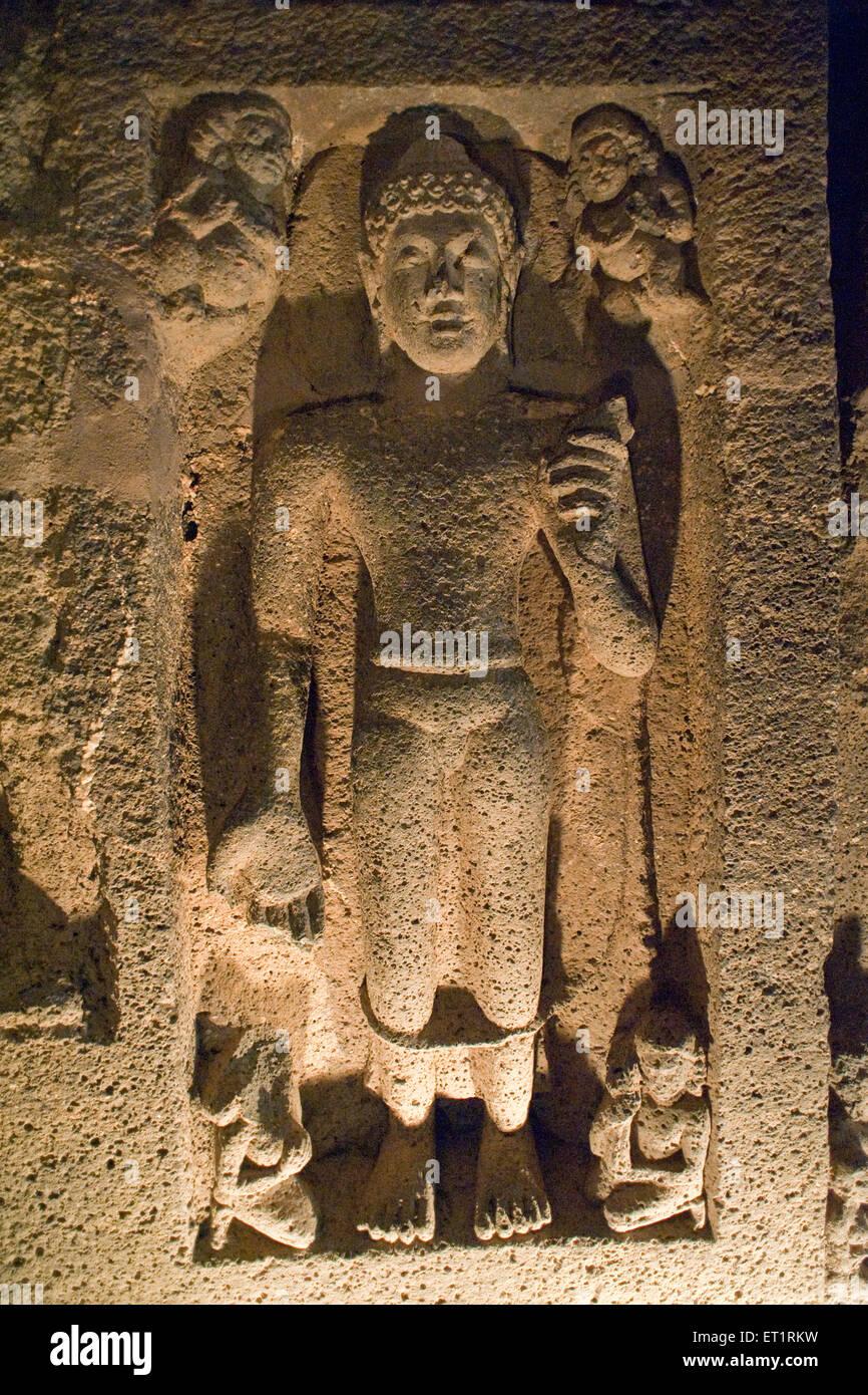 Buddha carve relief at ajanta caves ; Aurangabad ; Maharashtra ; India - Stock Image