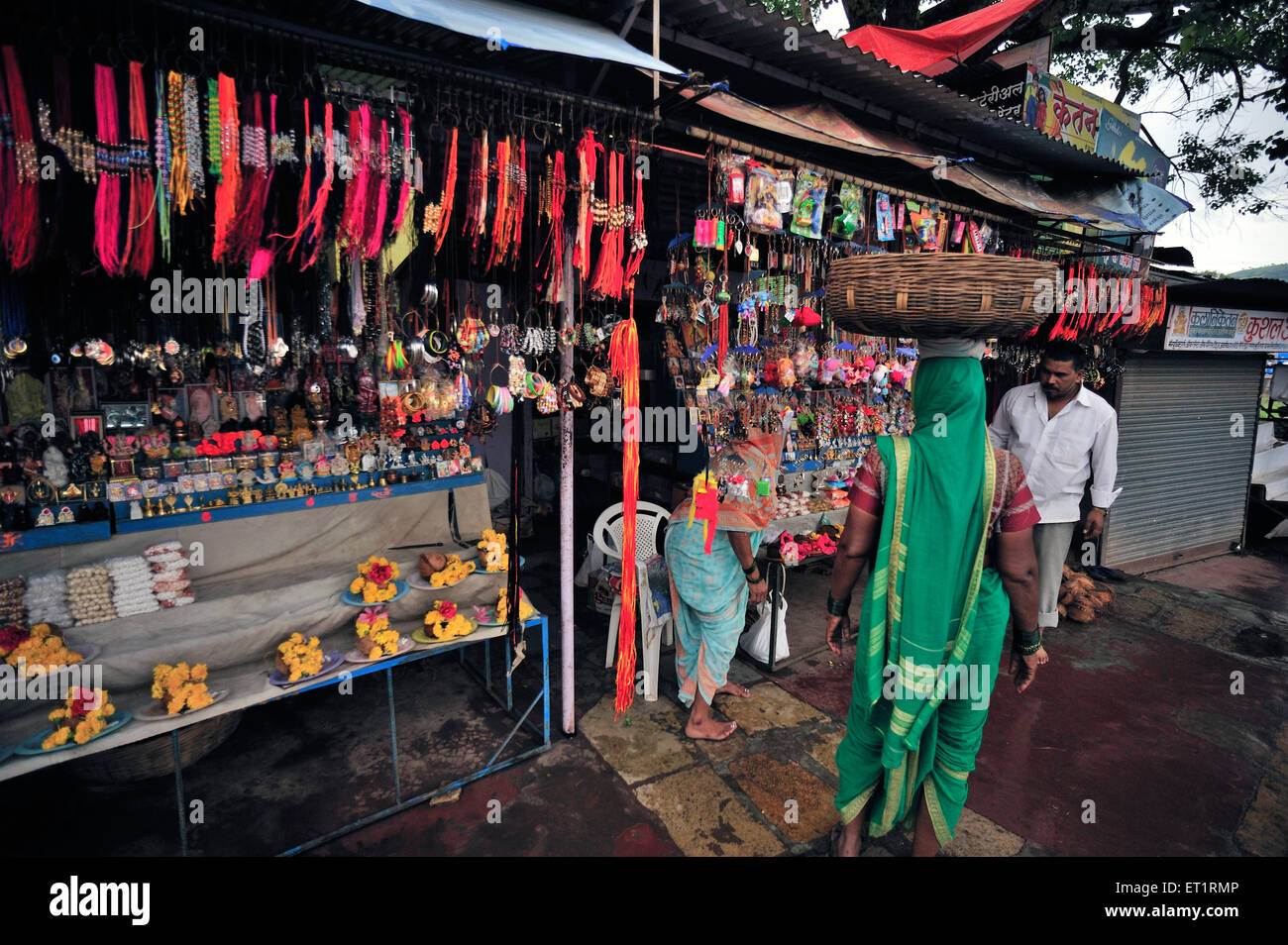 Shop of material for worship at samara Maharashtra India Asia - Stock Image