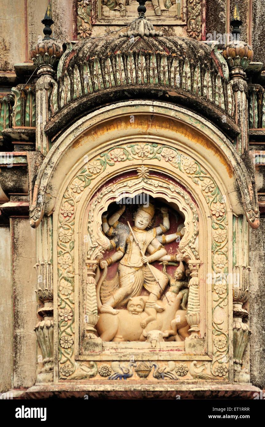 Reliefs of devi mahishshurmardini narsiha temple narsingpur pune Maharashtra India Asia - Stock Image