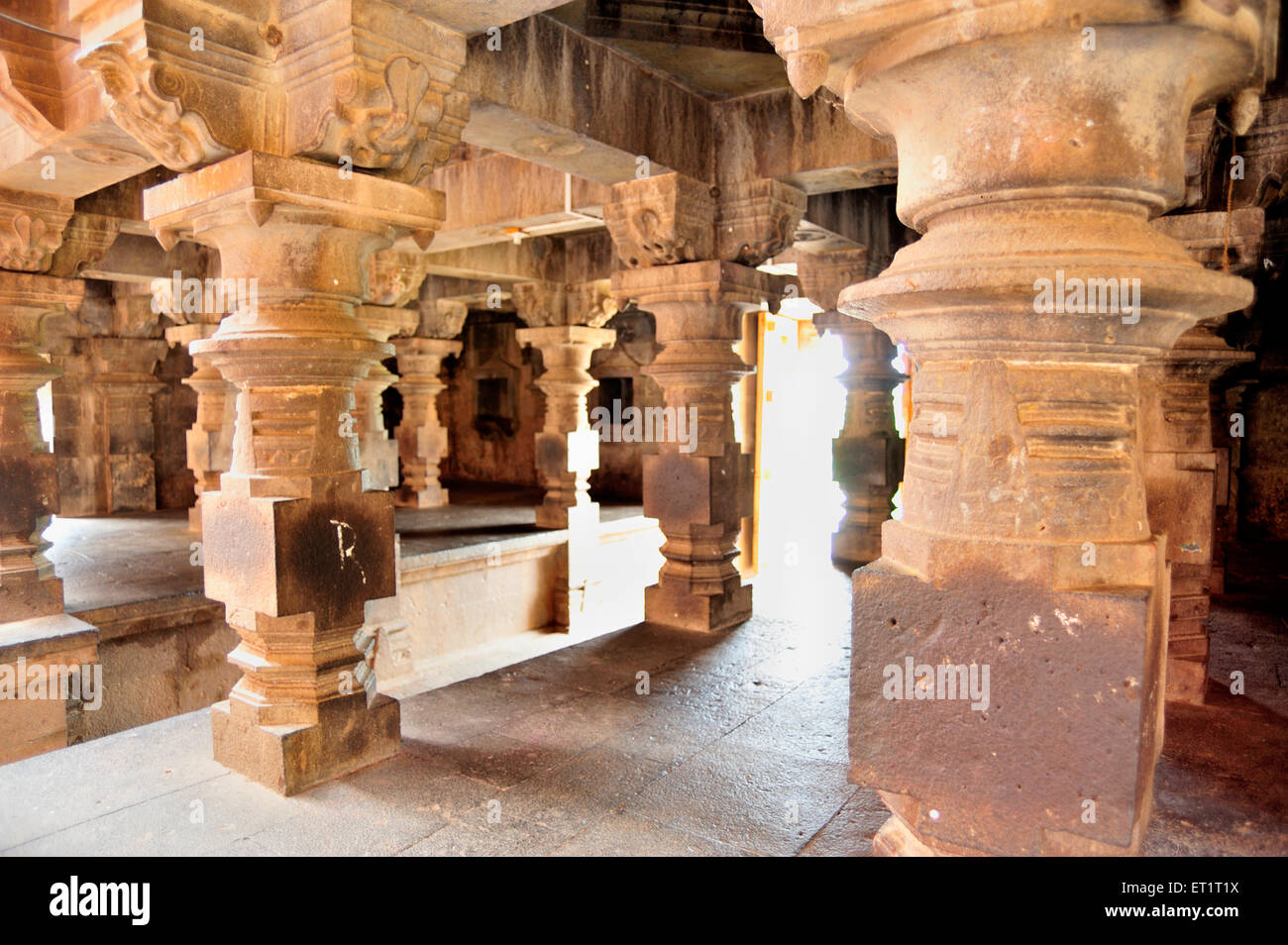 Pillars of narsiha temple at pune Maharashtra India Asia - Stock Image