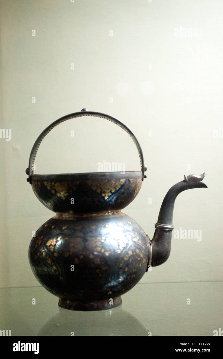 Decorative art deep vessel in the vadodara museum Gujarat India Asia Stock Photo