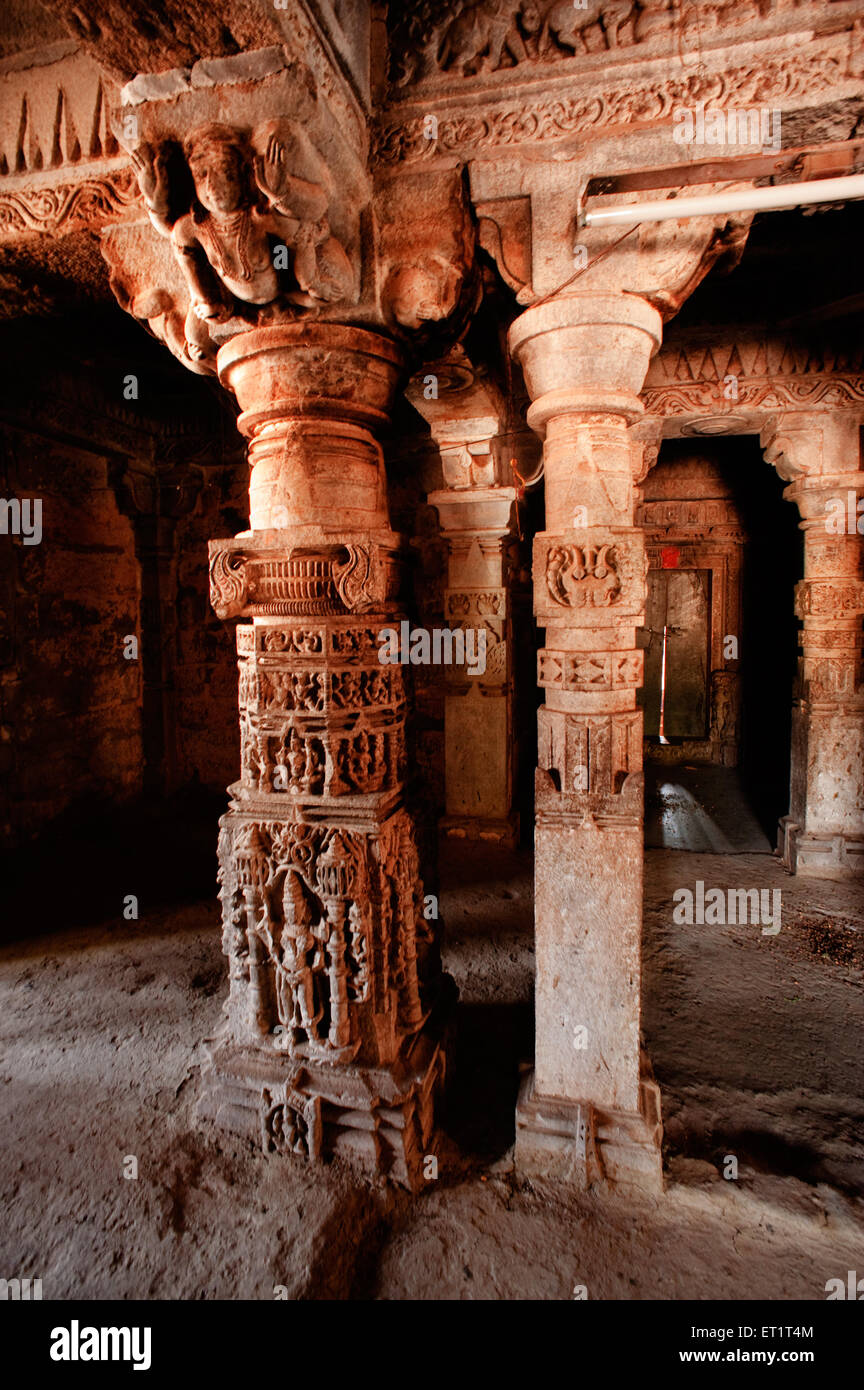 Decorated pillars in sidheshwar temple at ahmadnagar Maharashtra India Asia - Stock Image
