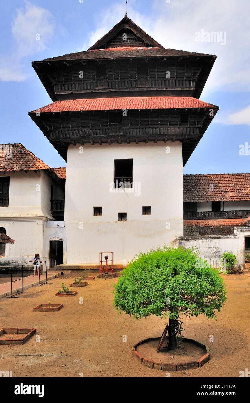 Prayer hall of padmanabhapuram palace at tamil nadu india Asia - Stock Image