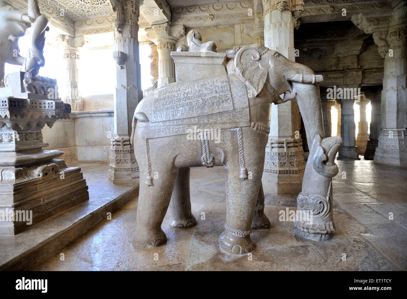 Elephant Marble sculpture at adinatha jain temple in ranakpur at rajasthan india Asia Stock Photo