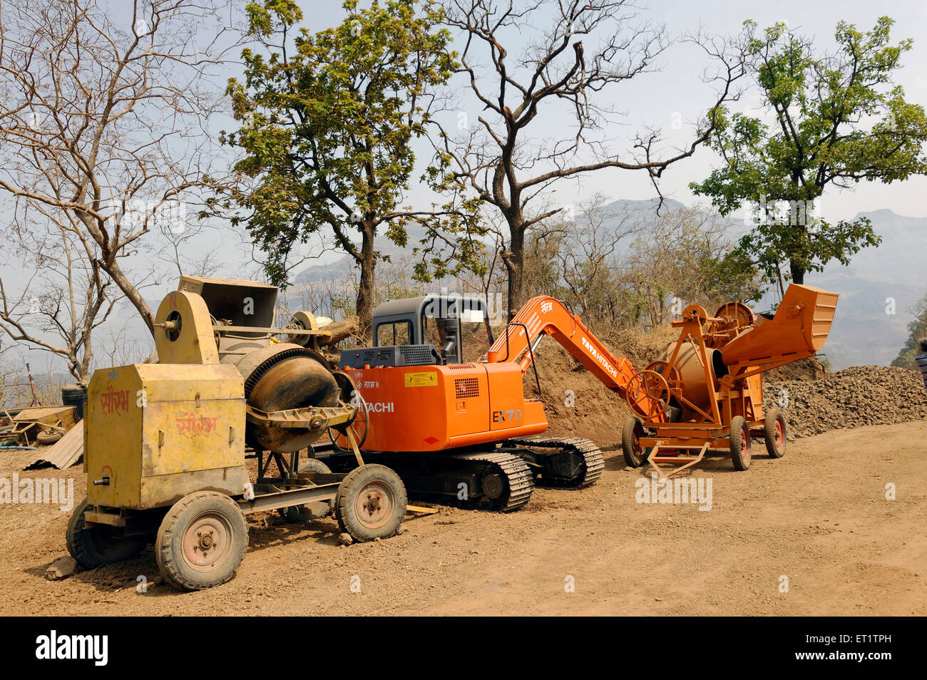 construction machinery at Maharashtra india Asia - Stock Image