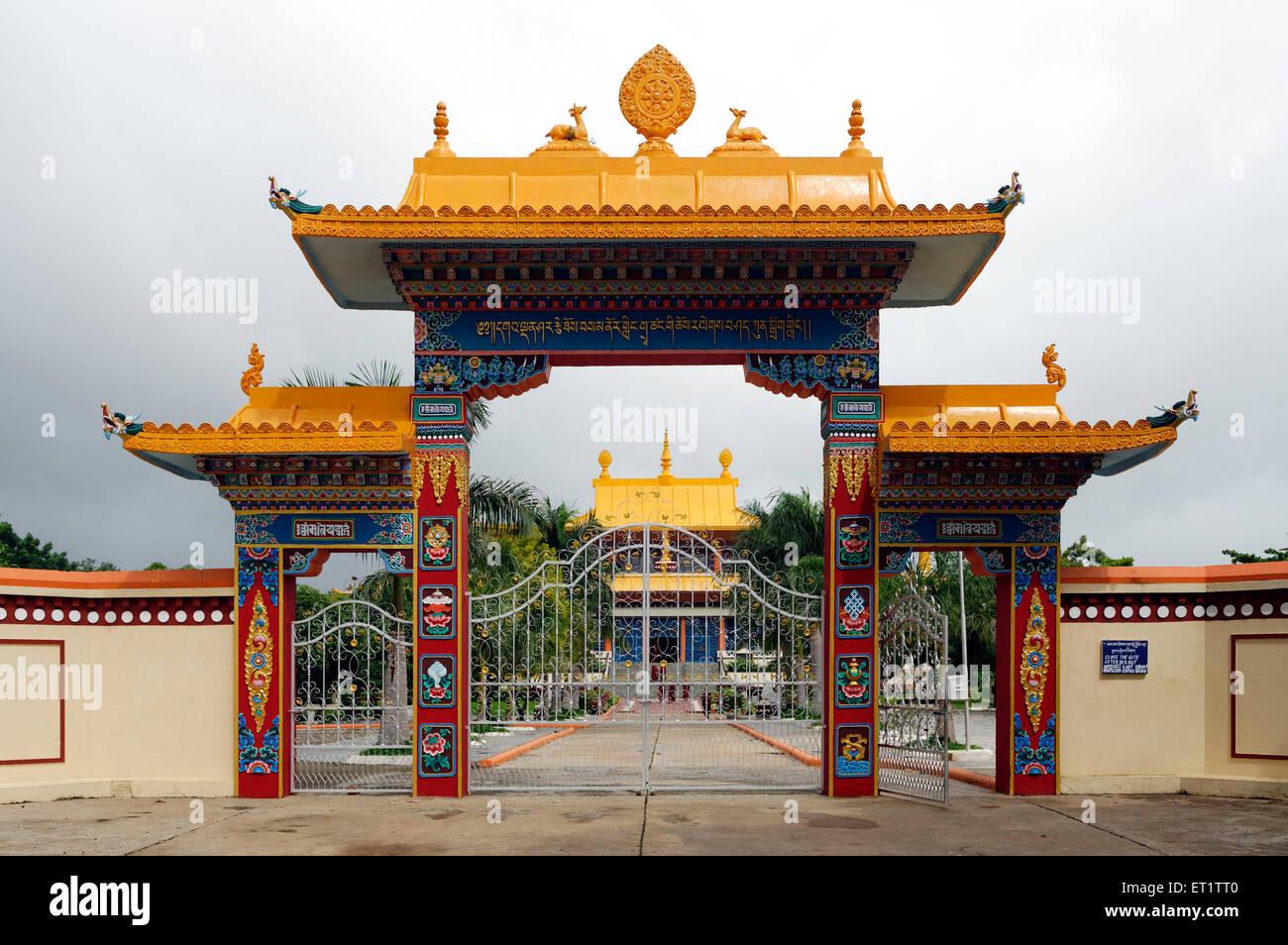 Entrance of Shar Gaden Monastery at Mundgod Karnataka India Asia - Stock Image