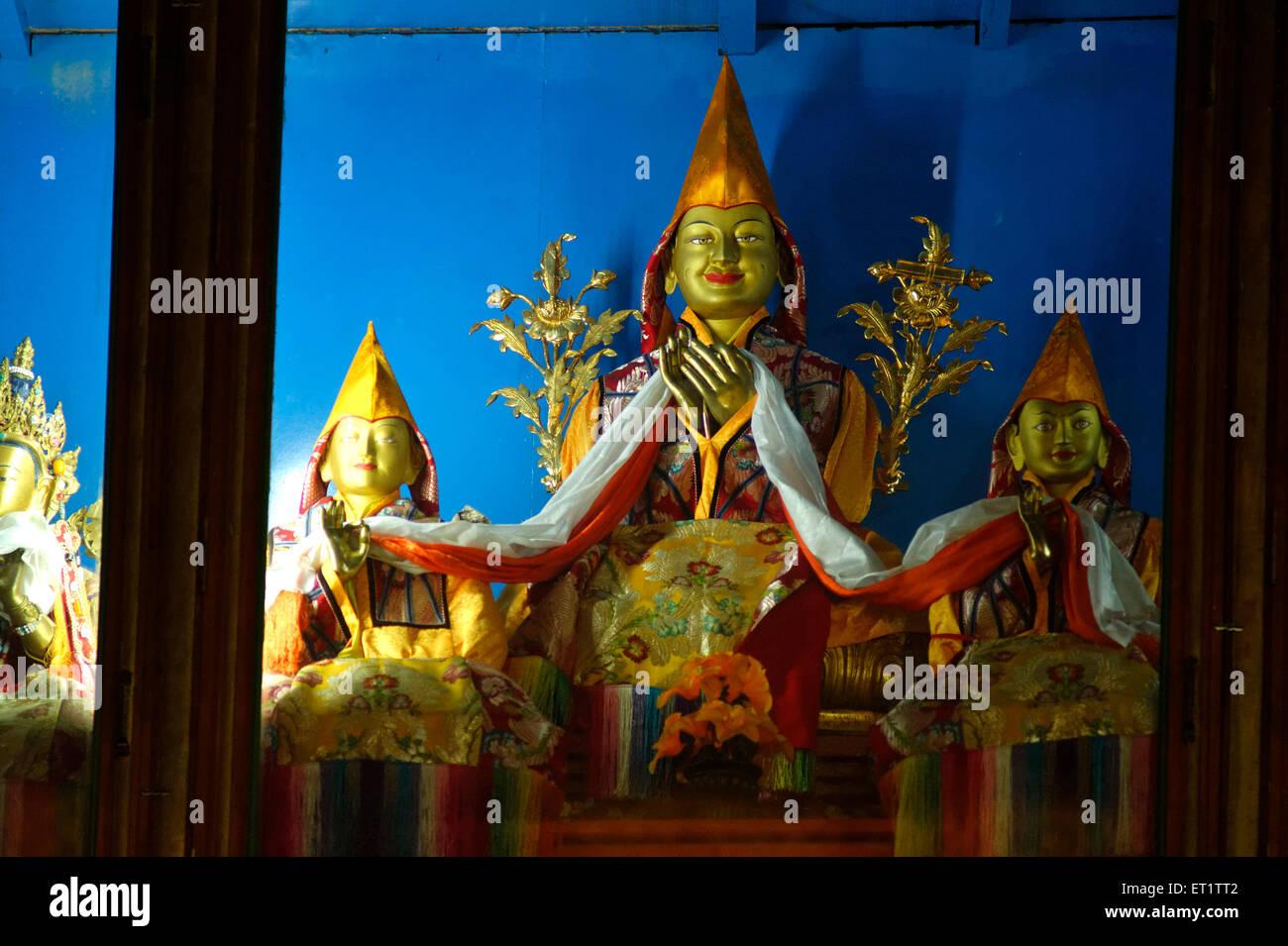 Idols at Shar Gaden Monastery in Mundgod at Karnataka India - Stock Image