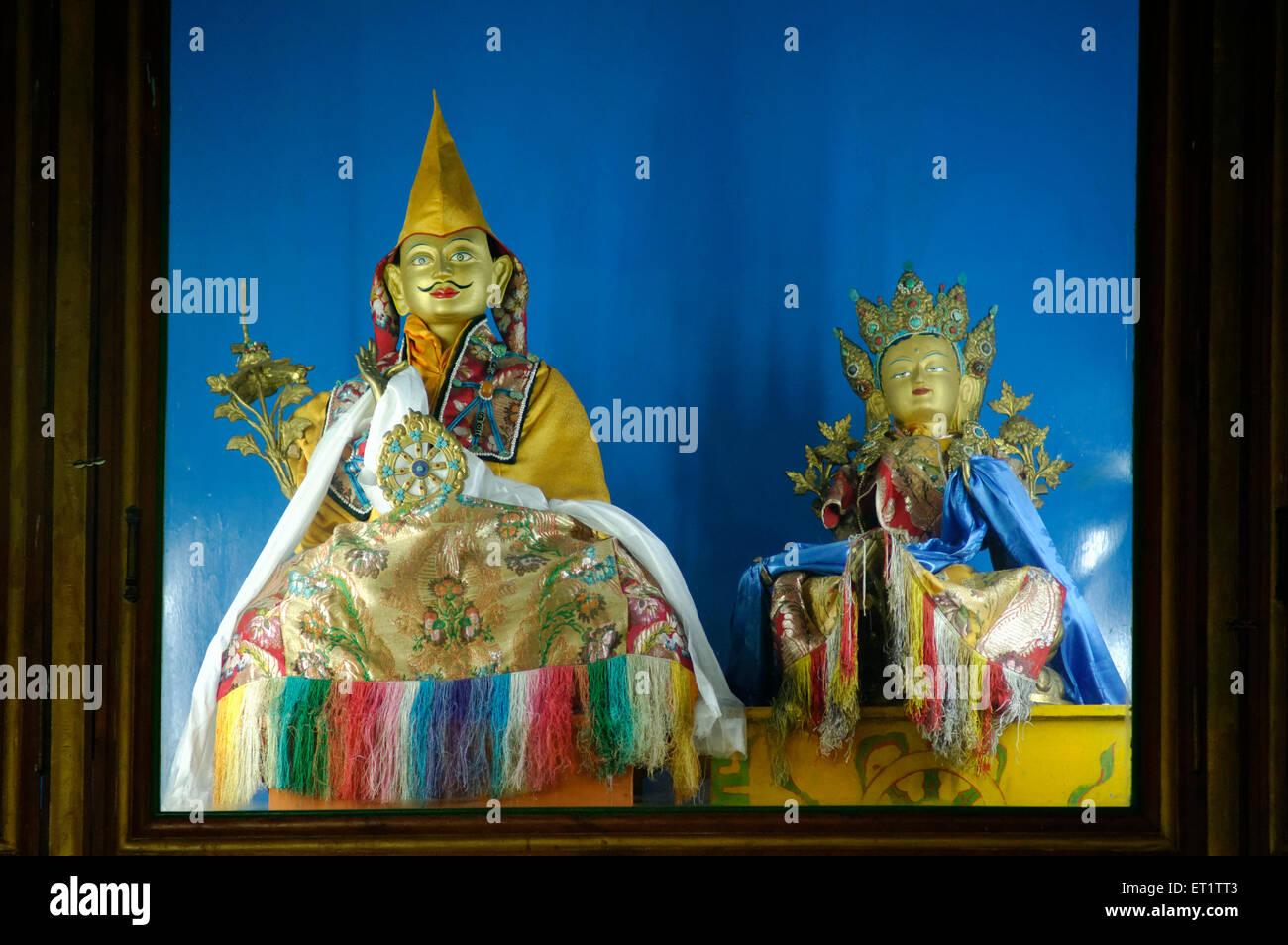 Idols at Shar Gaden Monastery in Mundgod at Karnataka India Asia - Stock Image